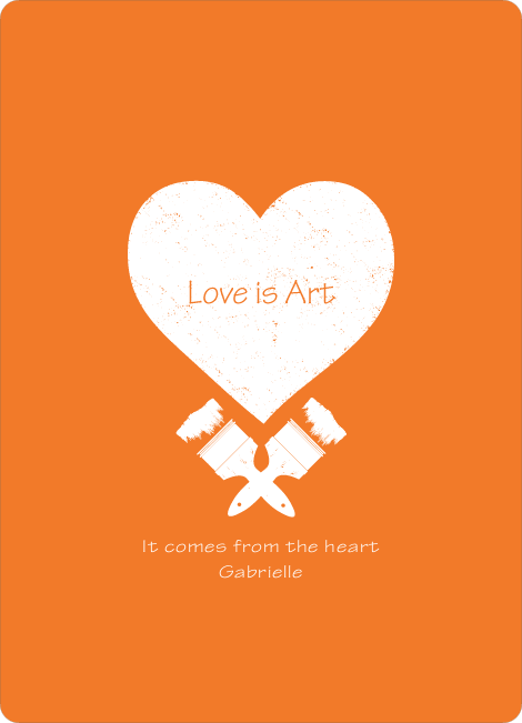 Love is Art Valentine's Day Cards - Orange