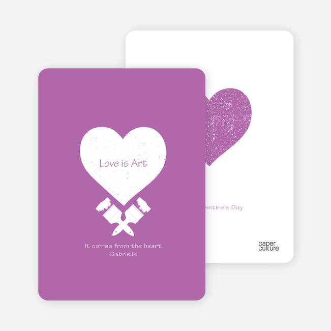 Love is Art Valentine's Day Cards - Purple