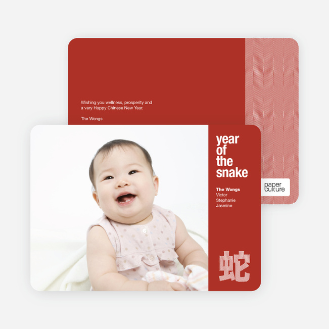 Modern Year of the Snake Lunar New Year Photo Cards - Red