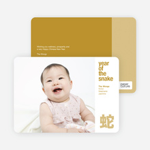 Modern Year of the Snake Lunar New Year Photo Cards - White