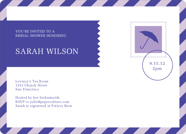 Postcard Wedding Shower Invitations - Purple