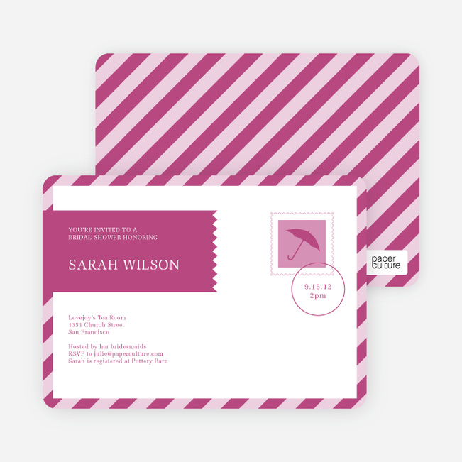 Postcard Wedding Shower Invitations - Pink
