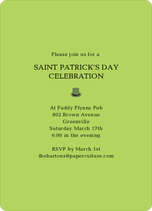 Simple St Patrick's Day Invitations - Green