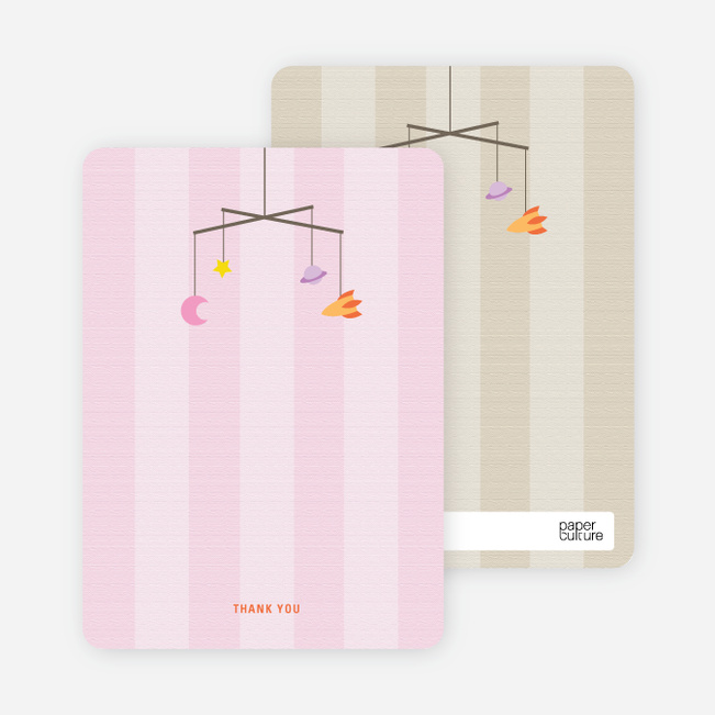 Space Mobile Personalized Stationery - Pink
