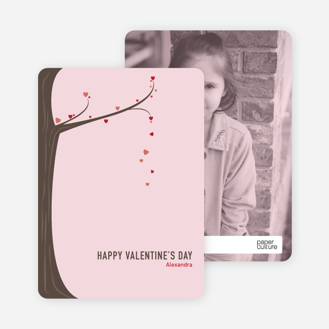 Tree of Love Unique Valentine's Day Cards - Pink