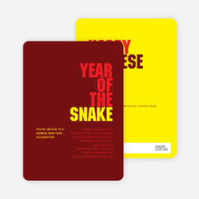 Year of the Snake Chinese New Year Invitations - Red