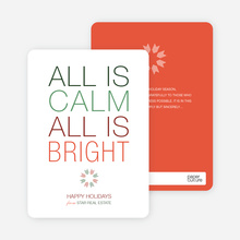 All is Calm Holiday Cards - Carrot