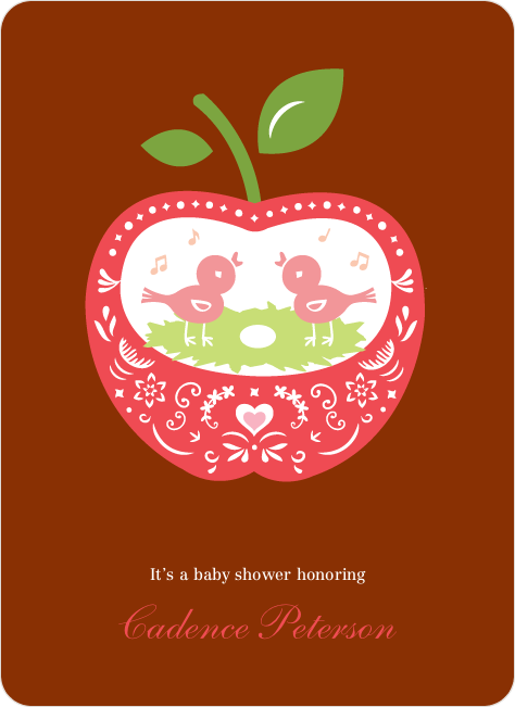Appleseed Bird Baby Shower Invitation - Brick Red