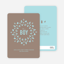 Baby Icon Burst Baby Shower Invitations - Boy Blue