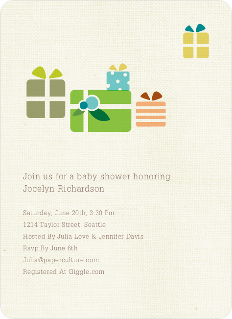 Baby Shower Invitation with Presents - Taupe