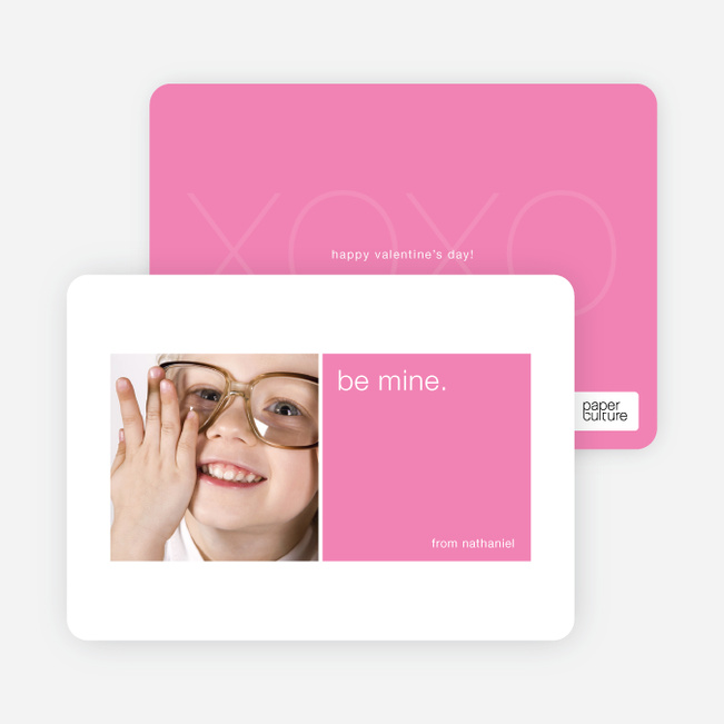 Be Mine Valentine's Day Signature Card - Shocking Pink
