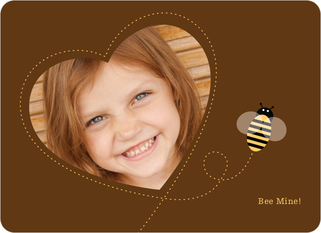 Bee Mine Heart Shaped Photo Card - Espresso
