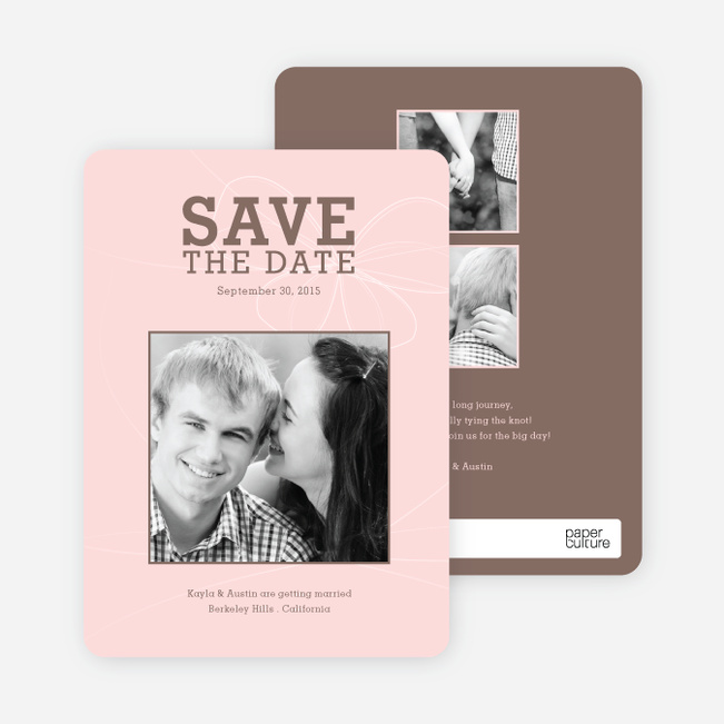 Bow Inspired Save the Date Cards - Pink Blush