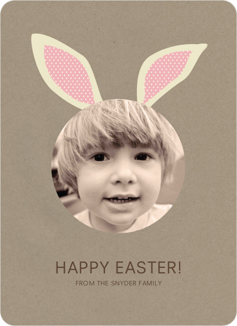 Bunny Ears Easter Photo Cards - Tea Rose
