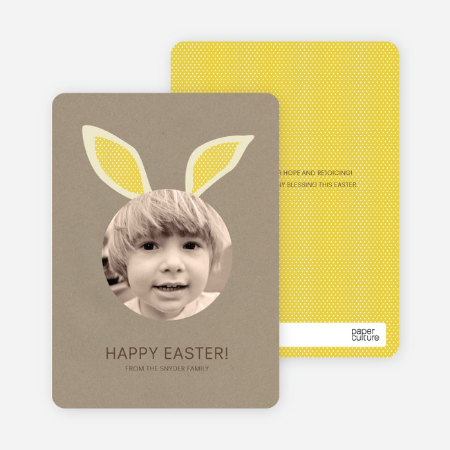 Bunny Ears Easter Photo Cards - White