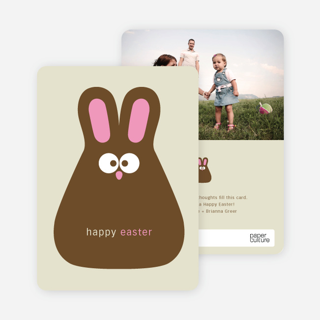 Chocolate Bunny Easter Photo Cards - Curious Pink