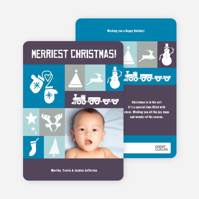 Christmas Card Memories: Reindeer, Mittens, Trees, Snowmen and more! - Cobalt Blue