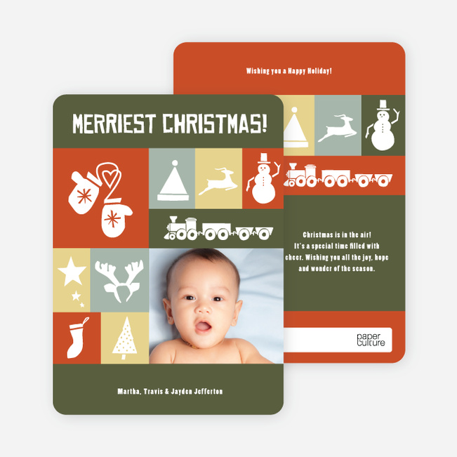 Christmas Card Memories: Reindeer, Mittens, Trees, Snowmen and more! - Tomato Red