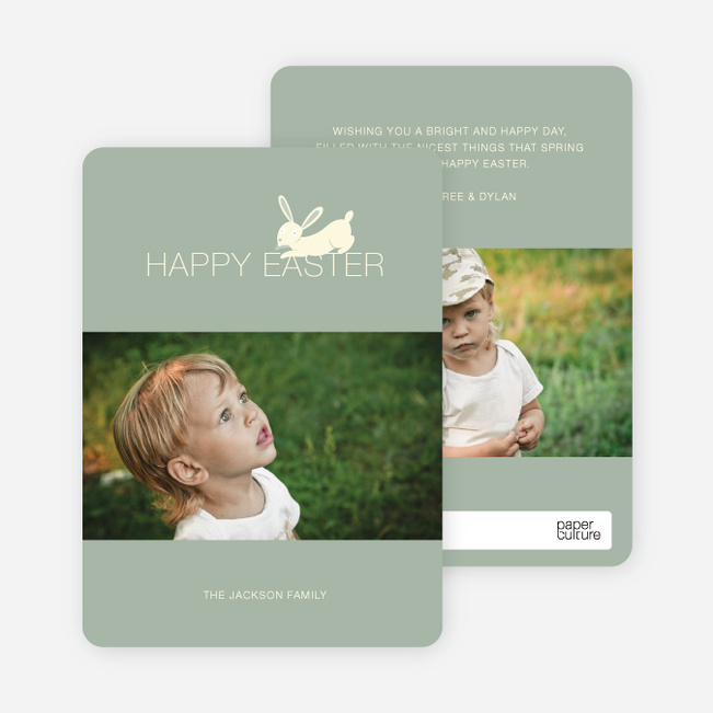Easter Bunny Photo Card - Clay Green