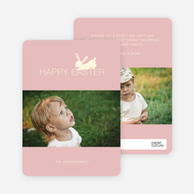 Easter Bunny Photo Card - Pink Burst