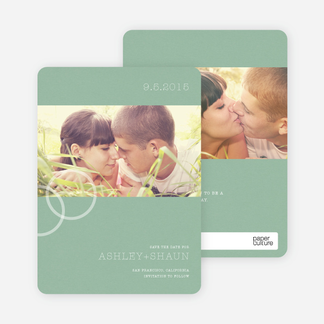 Engagement Ring Save the Date Photo Cards - Sage