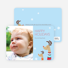 Fashionista Reindeer Happy Holidays Cards - Celestial Blue
