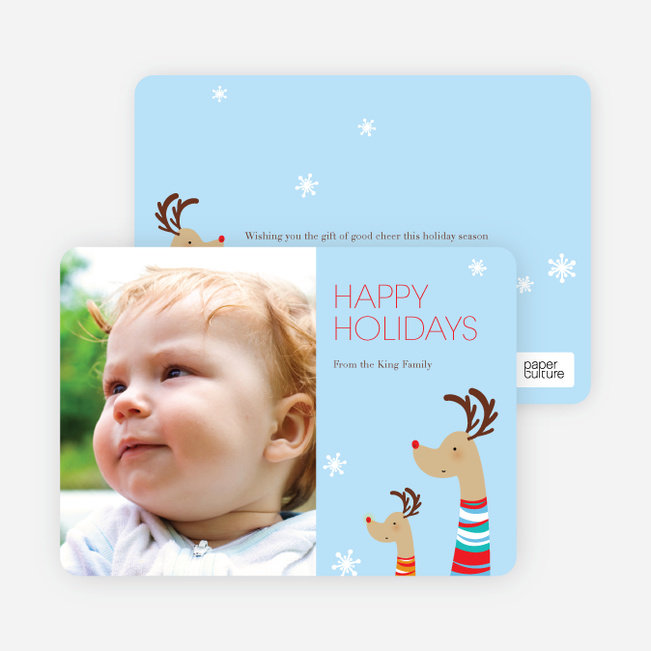 Fashionista Reindeer Happy Holidays Cards - Celestial Blue