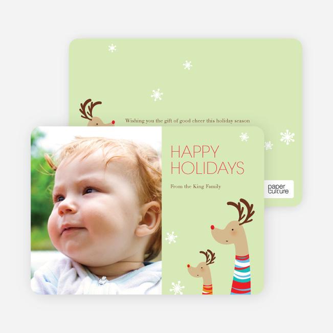 Fashionista Reindeer Happy Holidays Cards - Celery