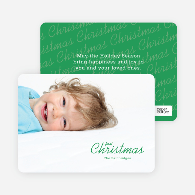 First Christmas Holiday Photo Cards - Green