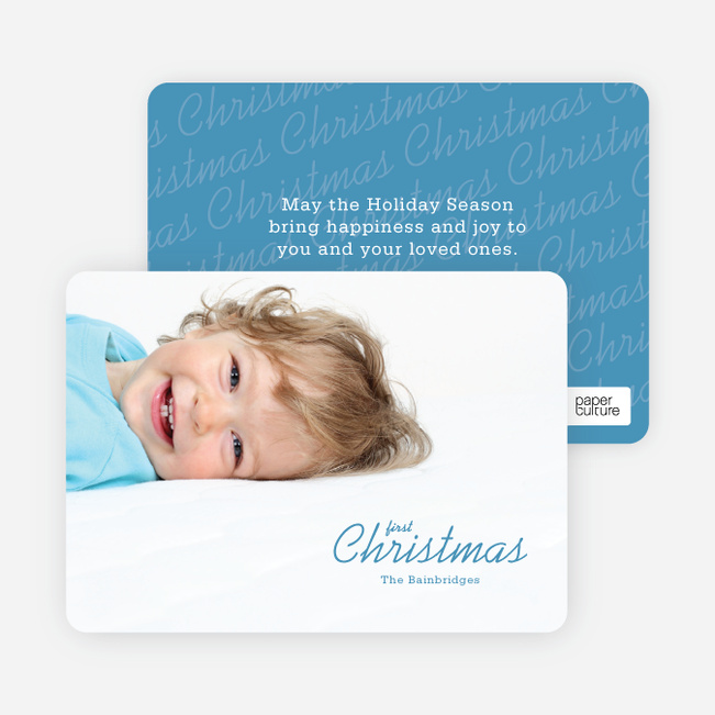 Modern Christmas Cards: First Christmas - Blue