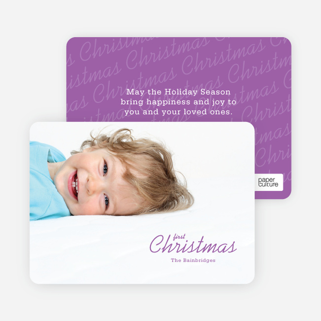 First Christmas Holiday Photo Cards - Purple