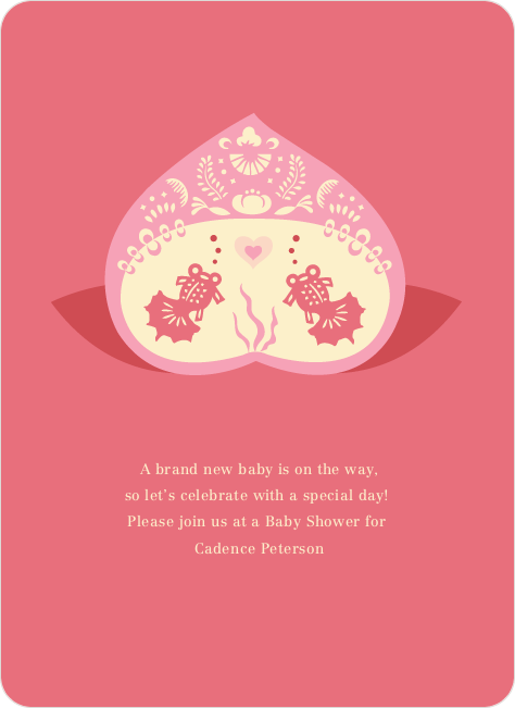 Fish in Love Baby Shower Invitation - Rosy Pink