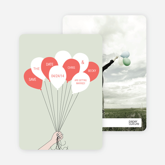 Fun Balloon Themed Save the Date Cards - Green