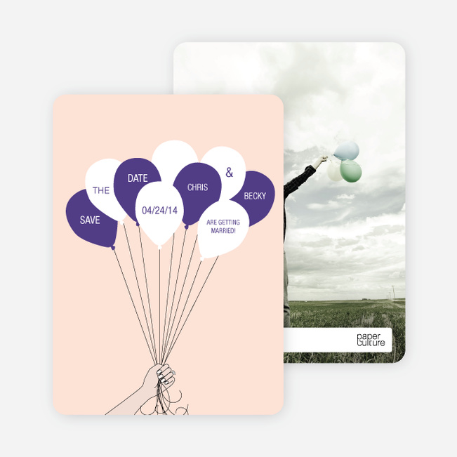 Fun Balloon Themed Save the Date Cards - Orange