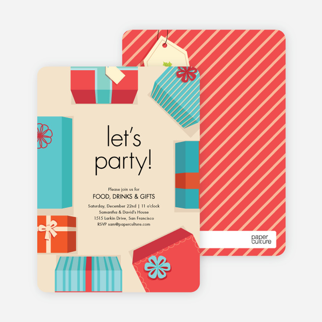 Gift exchange holiday invitations paper culture negle Choice Image