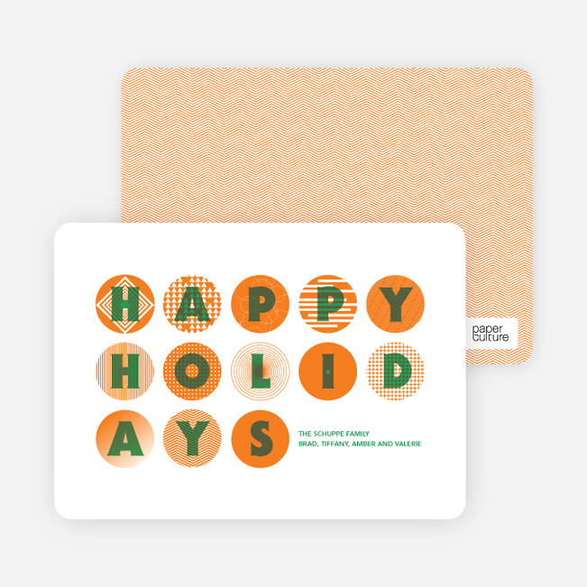 Happy Holidays Christmas Ornament Cards - Tangerine