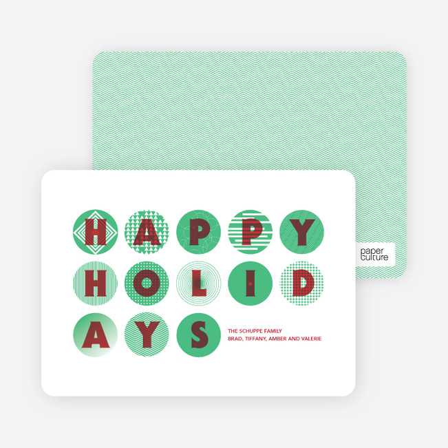 Happy Holidays Christmas Ornament Cards - Pistachio