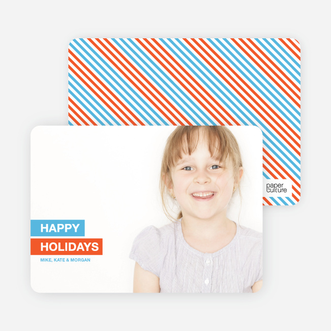 Happy Holidays Photo Card - Light Blue