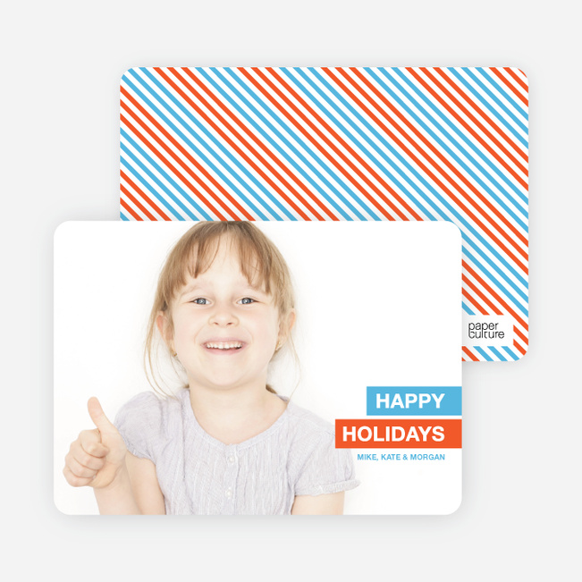 Happy Holidays Photo Card - Light Blue