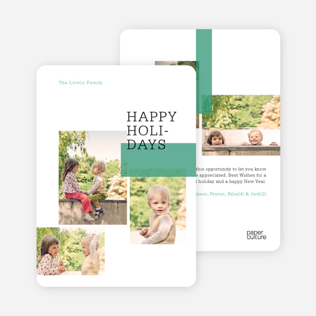 Multi Photo Holiday Cards: Blocks - Green
