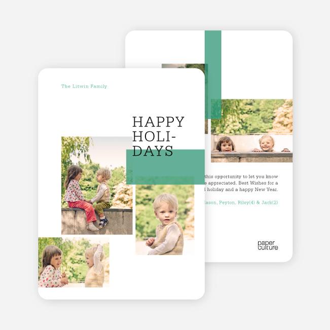 Holiday Blocks 5 Photo Holiday Cards - Green