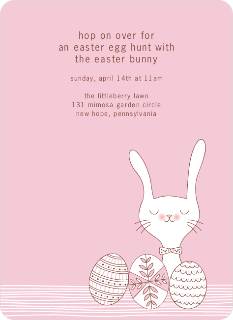 Hop on Over Easter Invitations - Pinky