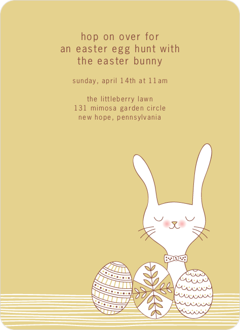 Hop on Over Easter Invitations - Coffee Cream