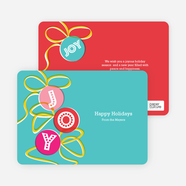 Joy Ornaments Holiday Cards - Turquoise