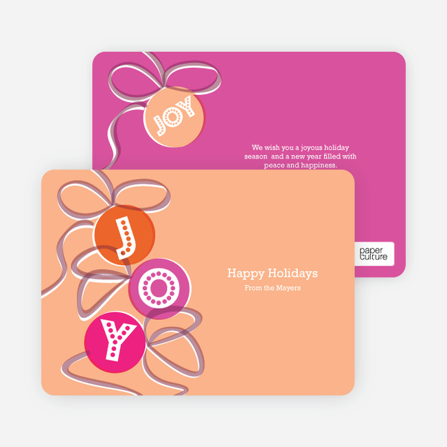 Joy Ornaments Holiday Cards - Orange Sherbet