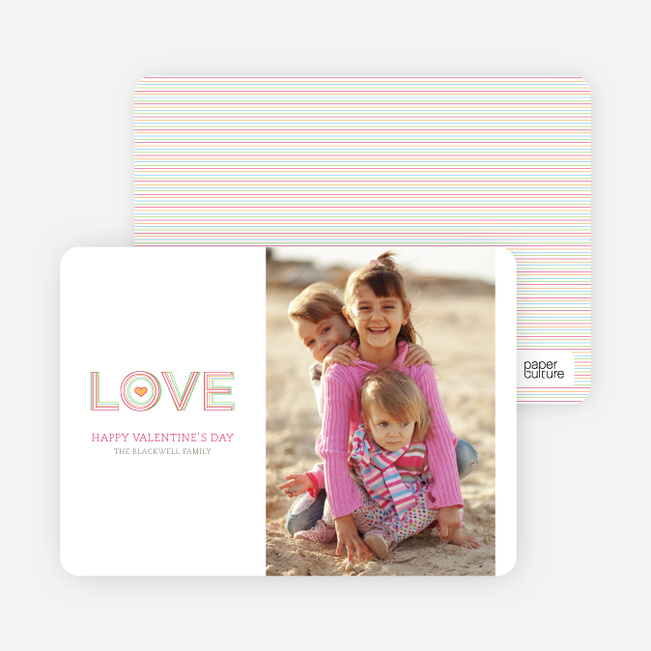 Love Outlines Valentine's Day Cards - Hot Pink