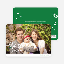 Merry Christmas Script Photo Cards - Green