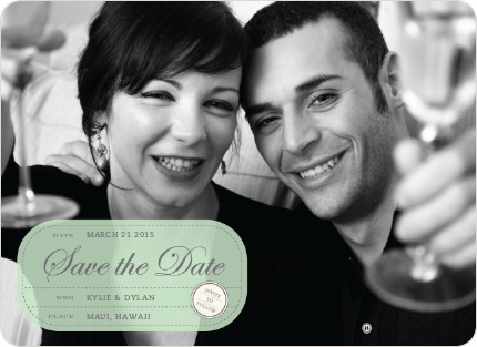 Modern Classic Save the Date Photo Cards - Celadon