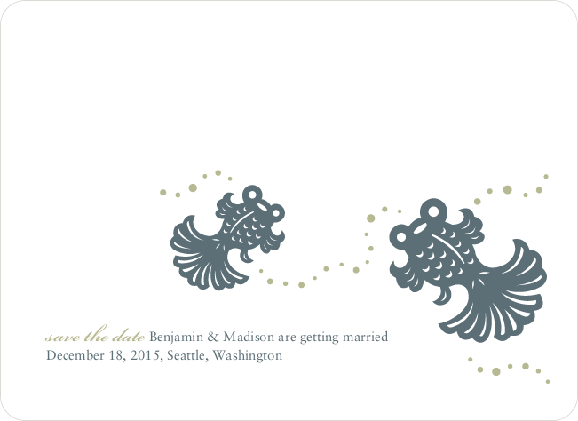 Modern Goldfish Themed Save the Date Cards - Slate Grey