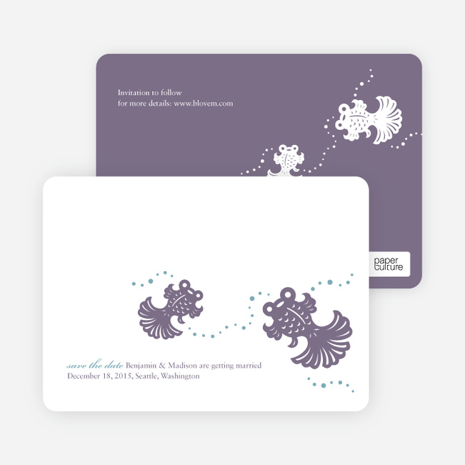 Modern Goldfish Themed Save the Date Cards - Mauve